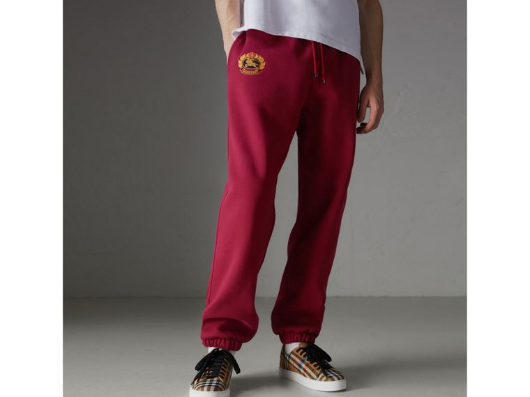 Archive Logo Jersey Sweatpants in Light Burgundy - Men | Burberry - cell image 4
