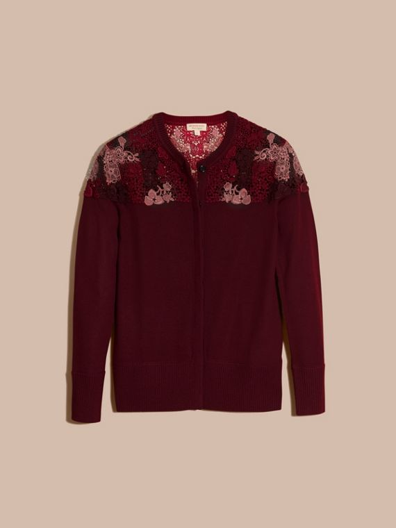 Deep claret Lace Yoke Merino Wool Cardigan Deep Claret - cell image 3