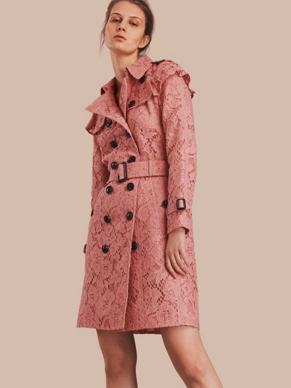 Ruffle Detail Macramé Lace Trench Coat Antique Rose