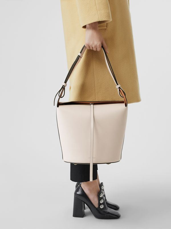 The Medium Leather Bucket Bag in Limestone - Women | Burberry - cell image 2