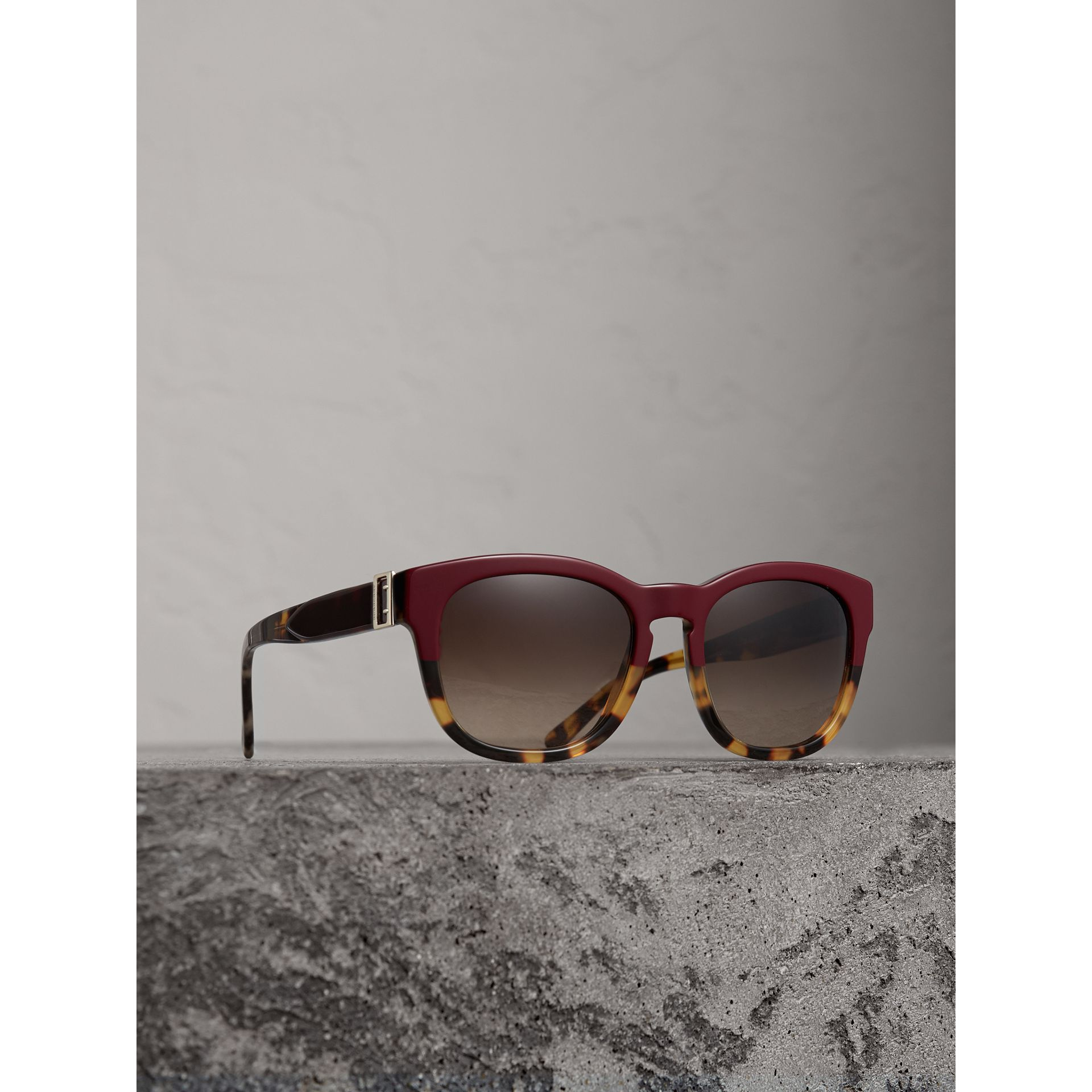 Buckle Detail Square Frame Sunglasses in Burgundy - Women | Burberry Australia - gallery image 1