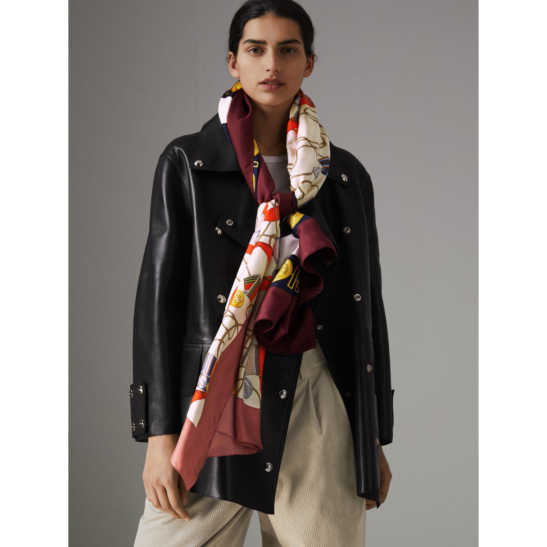 Archive Scarf Print Silk Oversized Scarf in Bright Ultramarine | Burberry United Kingdom - gallery image 3