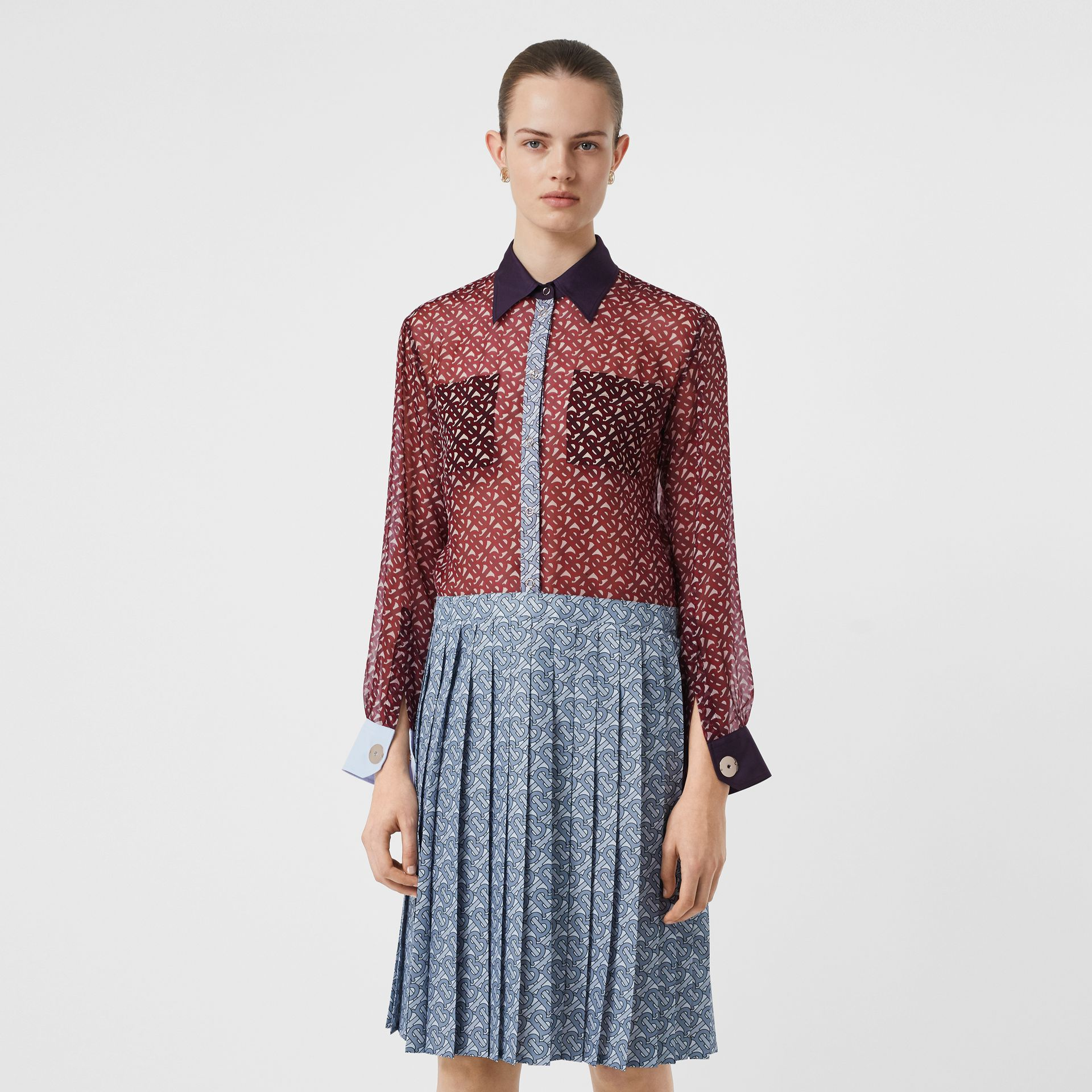 Monogram Print Silk Chiffon Pleated Shirt Dress in Oxblood - Women | Burberry Australia - gallery image 5