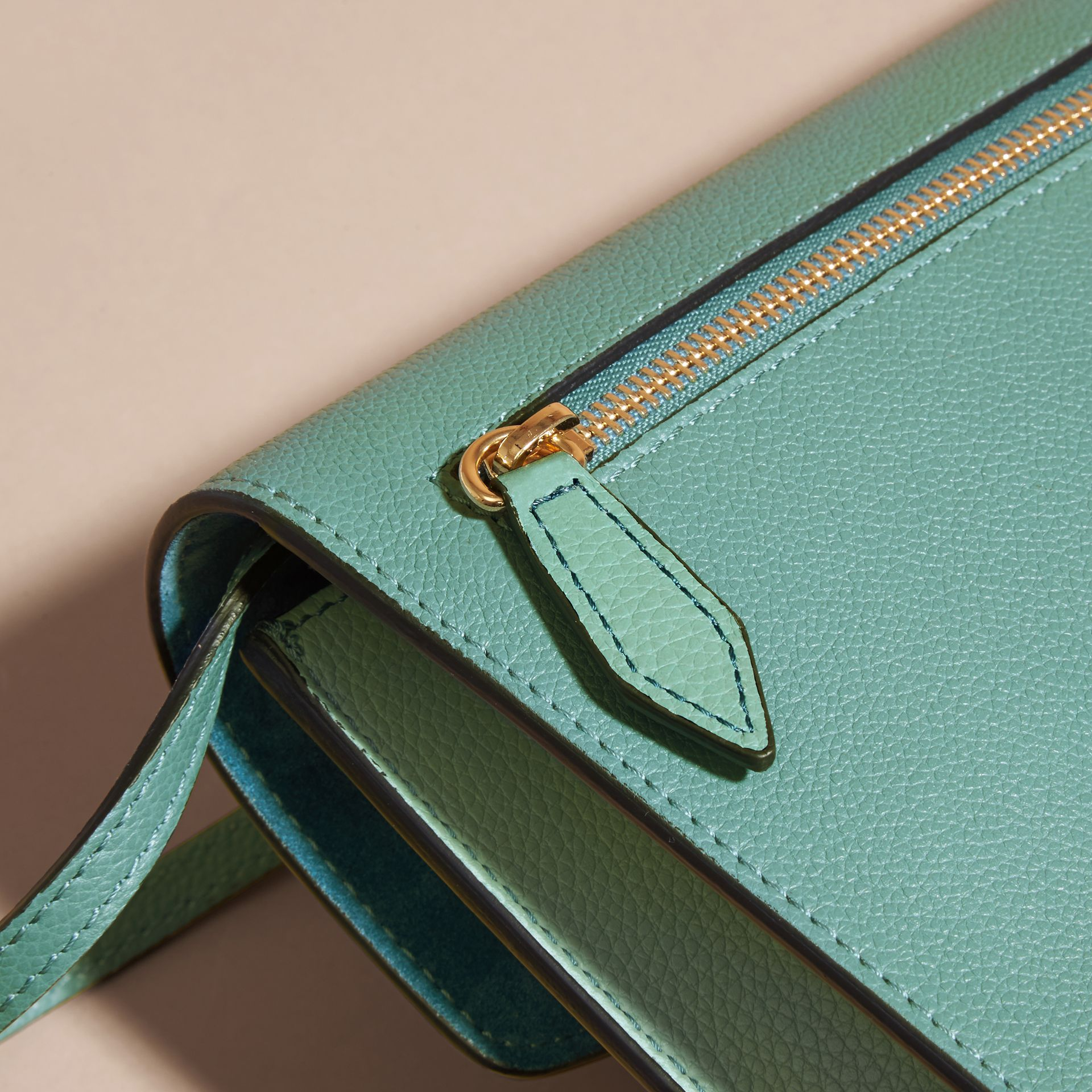 Small Leather and House Check Crossbody Bag Celadon Blue - gallery image 5