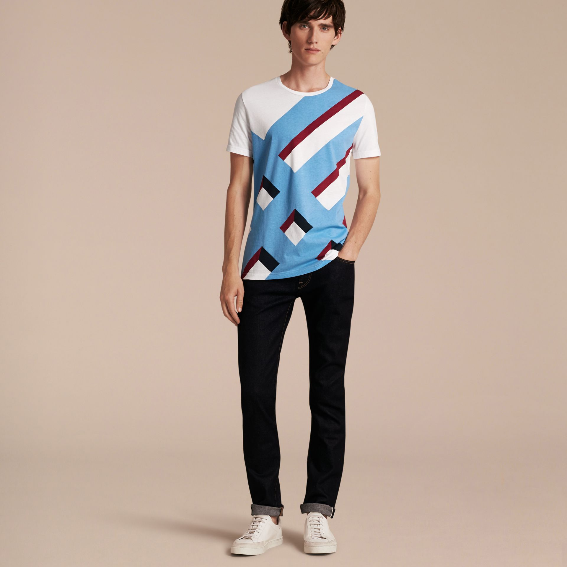Abstract Check Print Cotton T-shirt - gallery image 6
