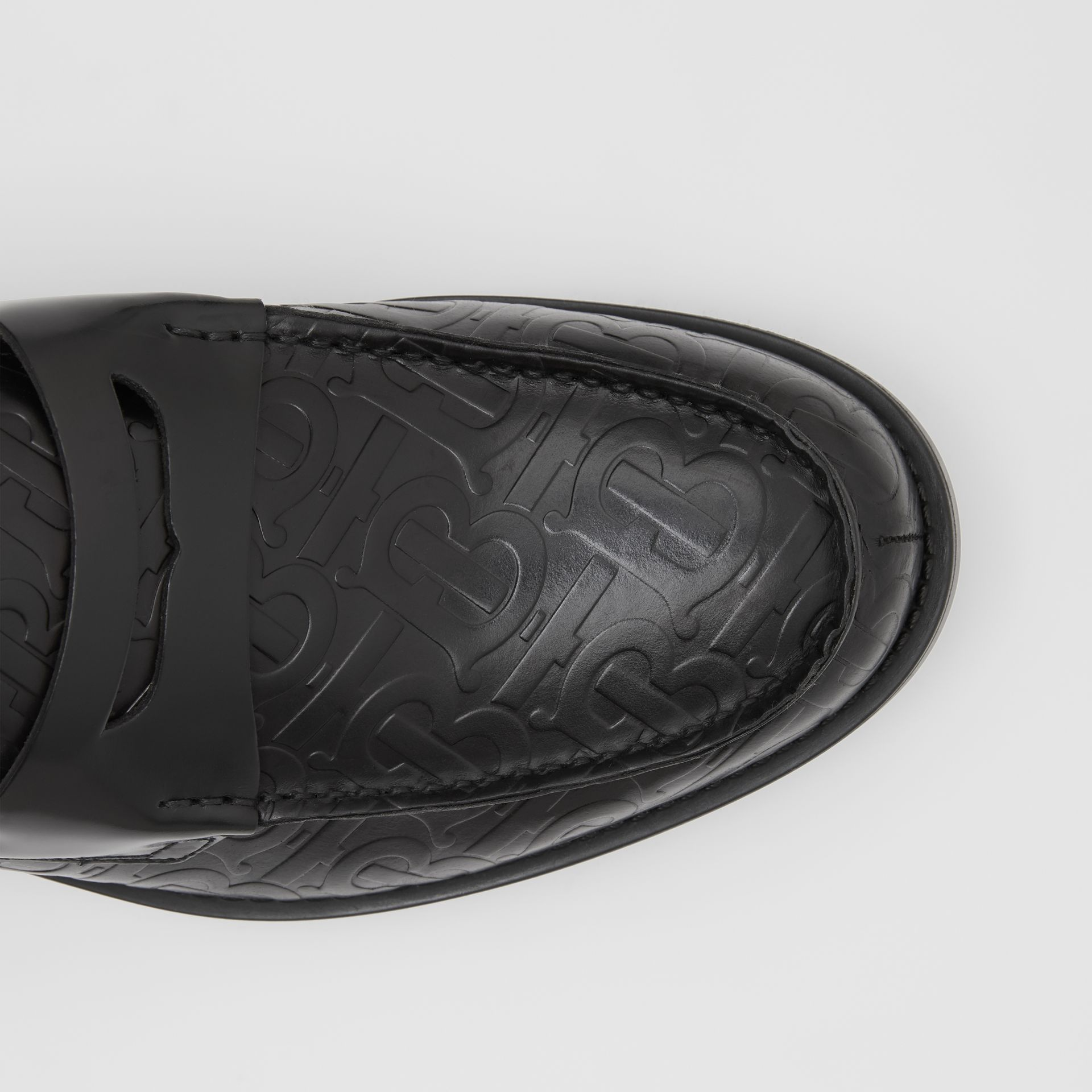 D-ring Detail Monogram Leather Loafers in Black - Men | Burberry Australia - gallery image 1