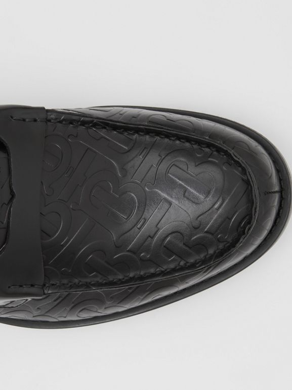 D-ring Detail Monogram Leather Loafers in Black - Men | Burberry Australia - cell image 1