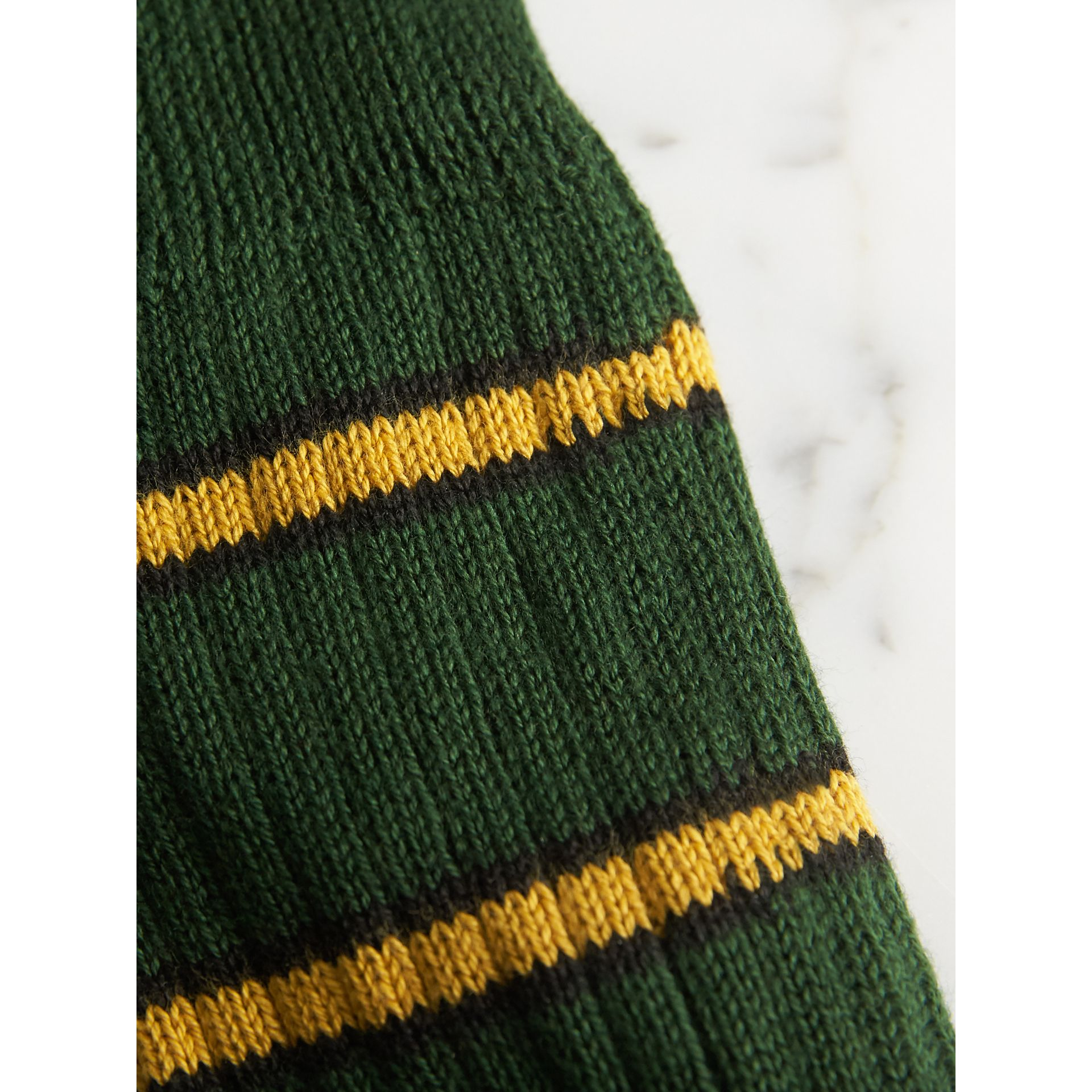 Striped Knitted Cotton Socks in Emerald Green | Burberry - gallery image 1