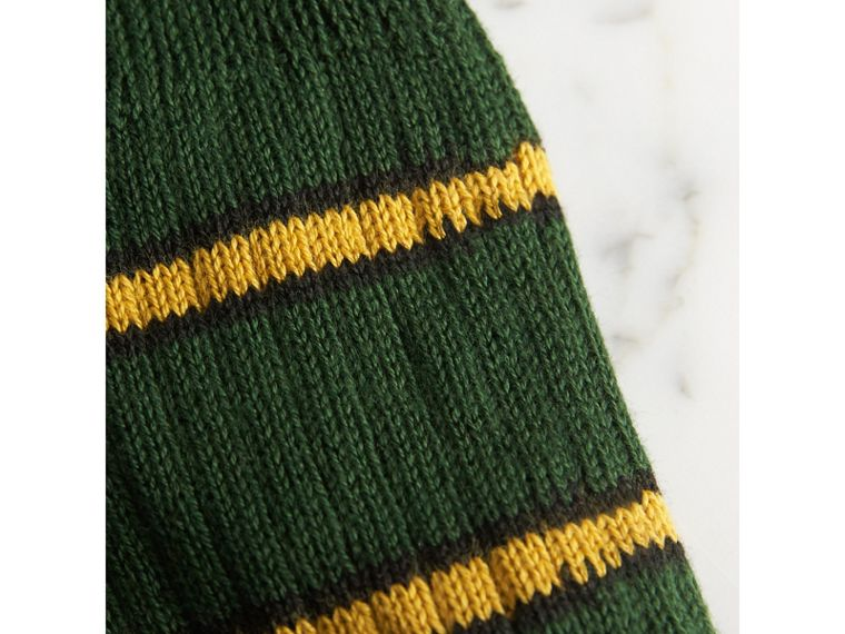 Striped Knitted Cotton Socks in Emerald Green | Burberry - cell image 1