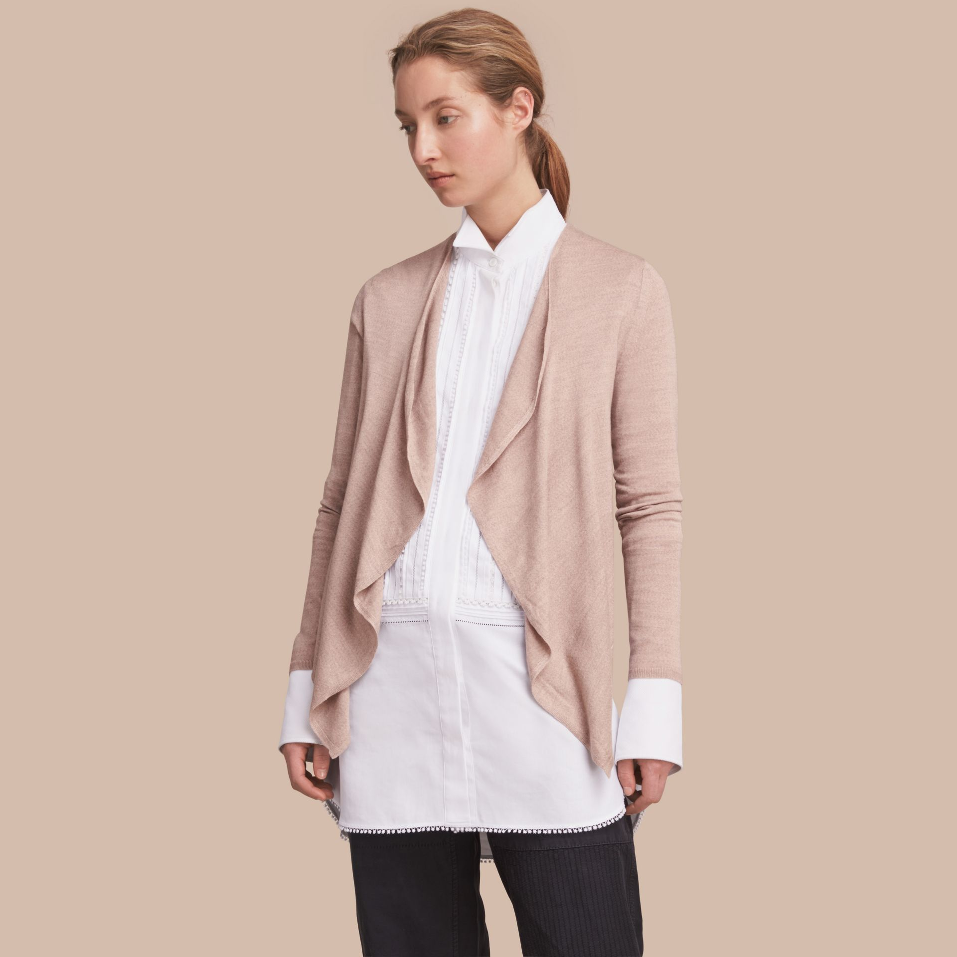 Merino Wool Silk Open Cardigan Pale Taupe - gallery image 1