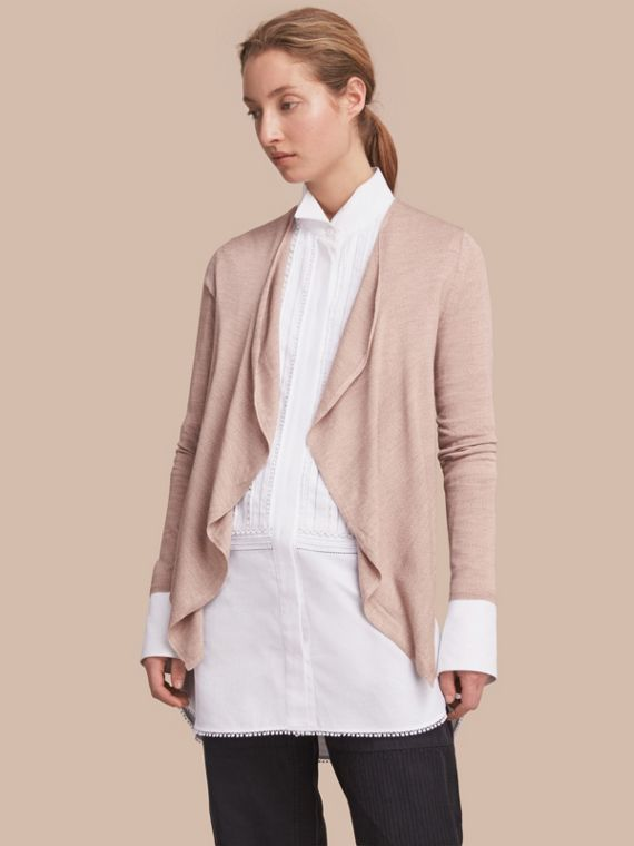 Merino Wool Silk Open Cardigan in Pale Taupe