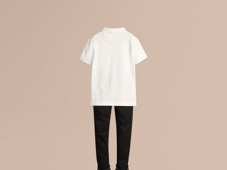 Check Placket Polo Shirt in White - Boy | Burberry United Kingdom - cell image 2