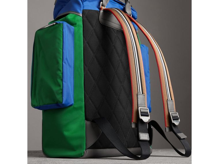 Tri-tone Nylon and Leather Backpack in Dark Canvas Blue - Men | Burberry - cell image 4