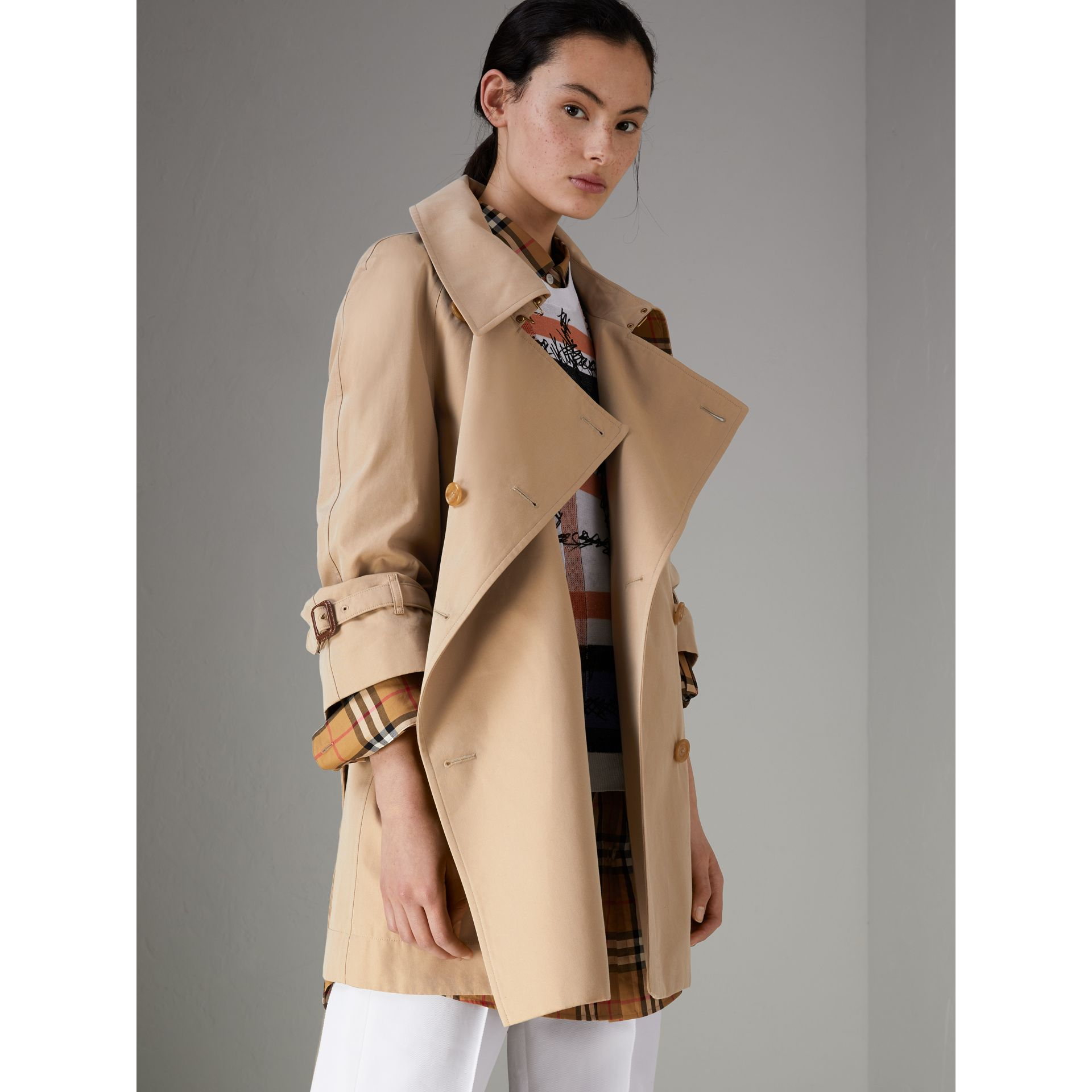 Exaggerated Collar Cotton Gabardine Trench Coat in Honey - Women | Burberry - gallery image 5