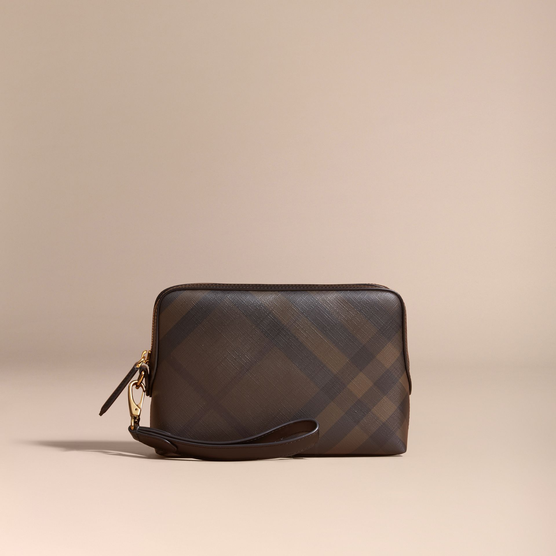 Leather-trimmed London Check Pouch in Chocolate/black - gallery image 6