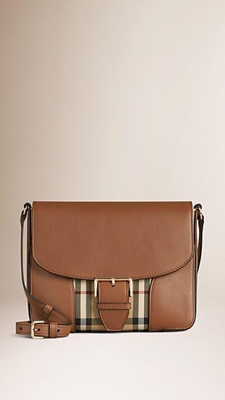 Bolsa transversal pequena de couro com padrão Horseferry check
