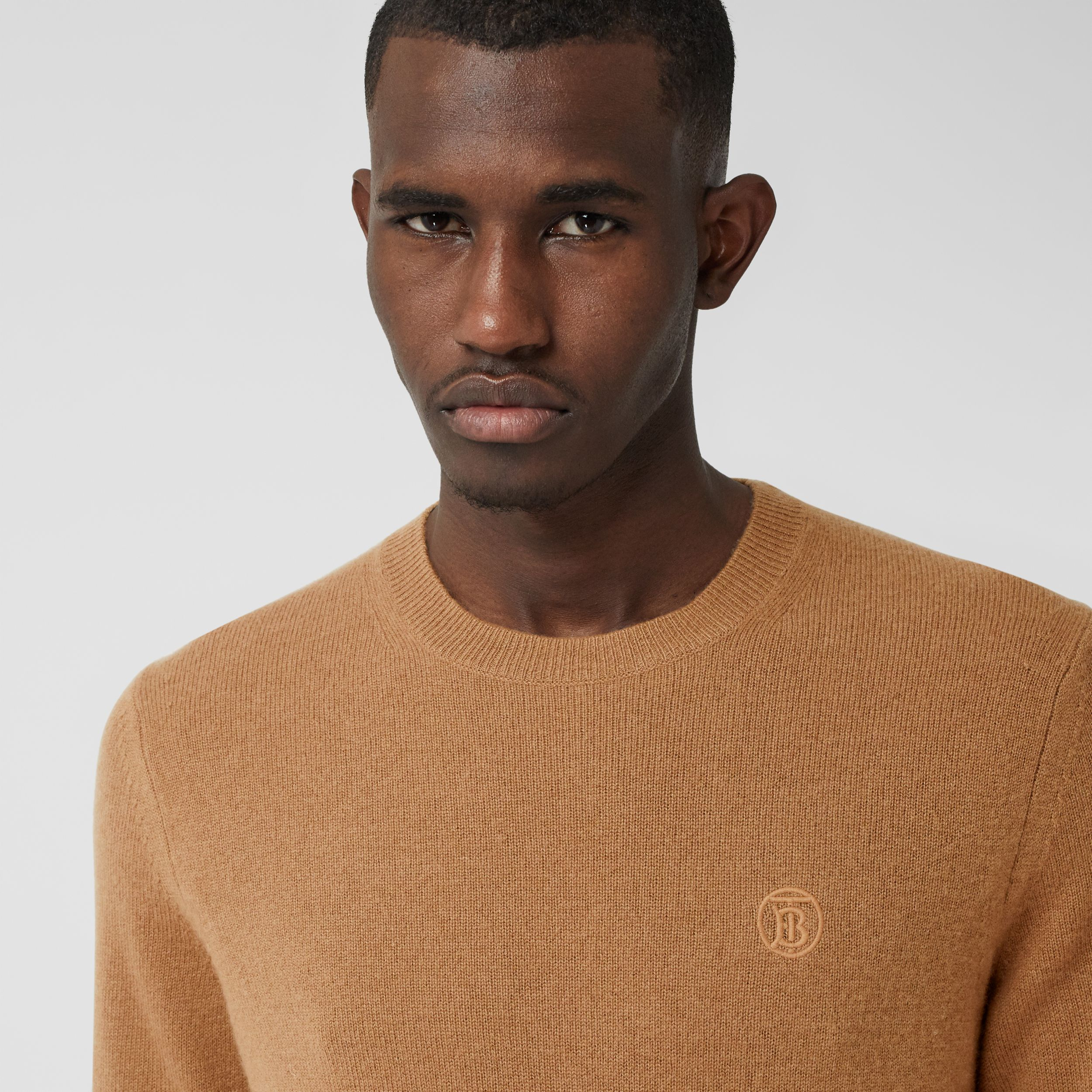 Monogram Motif Cashmere Sweater in Camel - Men | Burberry Singapore - 2