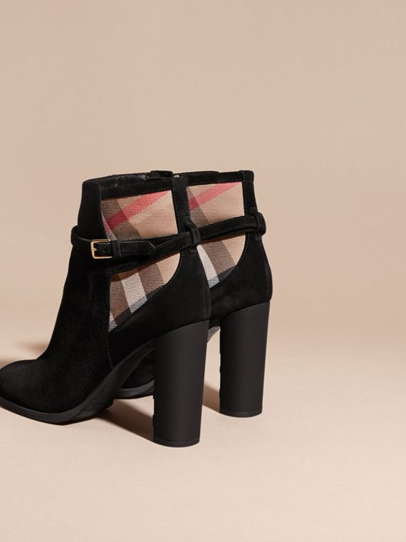 Noir Bottines en cuir velours avec motif House check - cell image 3