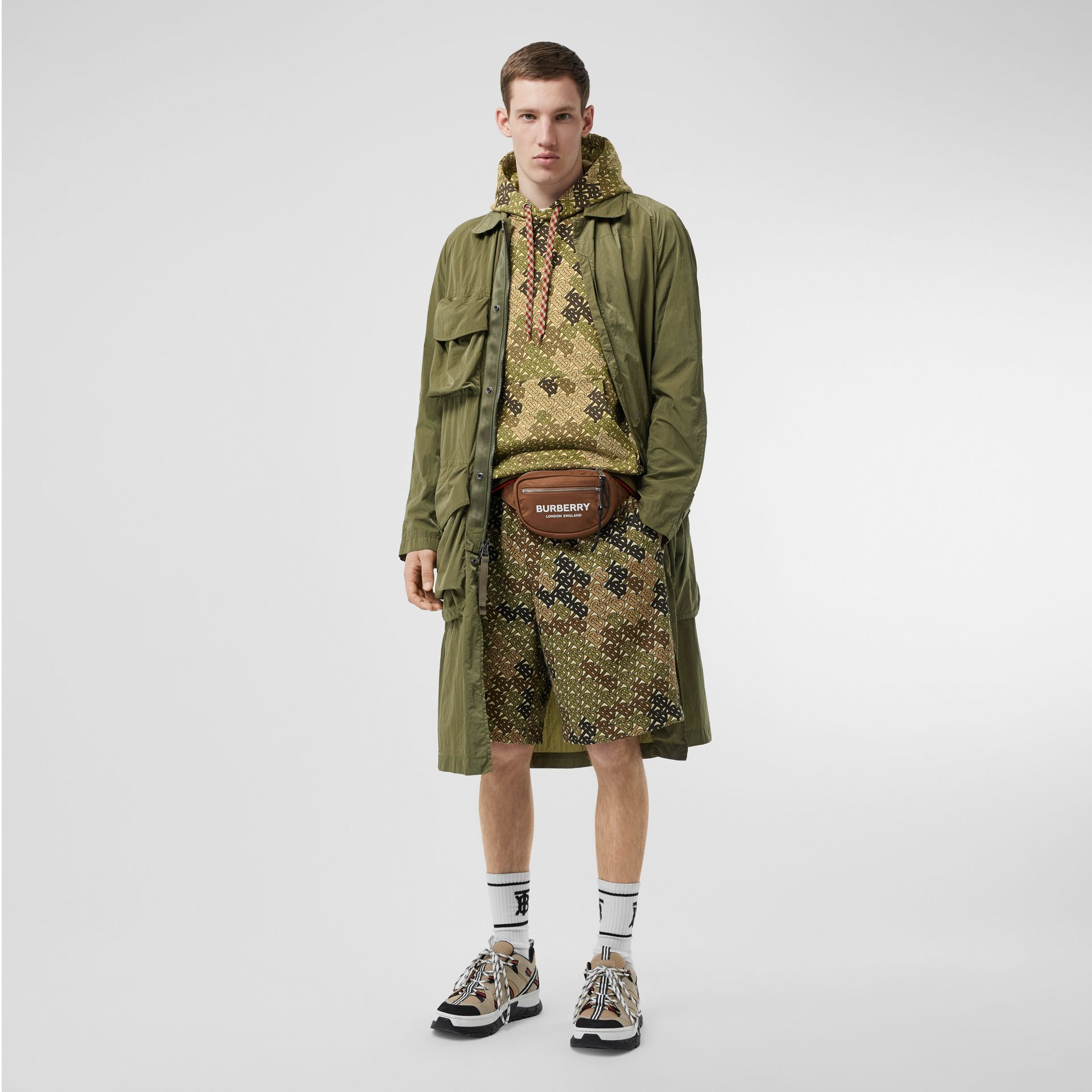 Monogram Print Cotton Hoodie in Khaki Green - Men | Burberry - gallery image 5