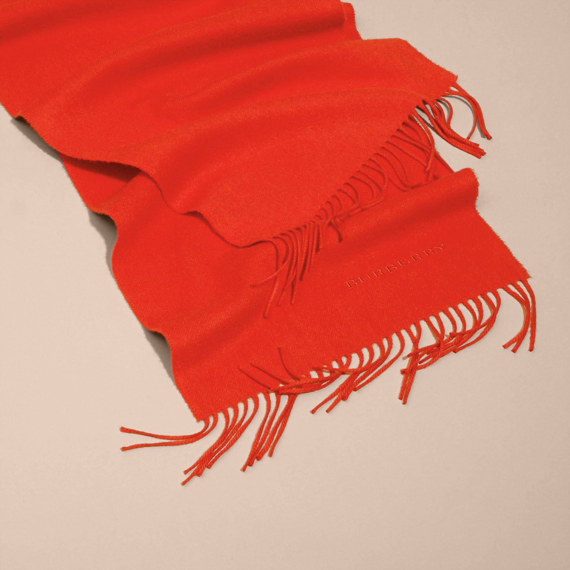 The Classic Cashmere Scarf in Bright Orange Red - gallery image 5