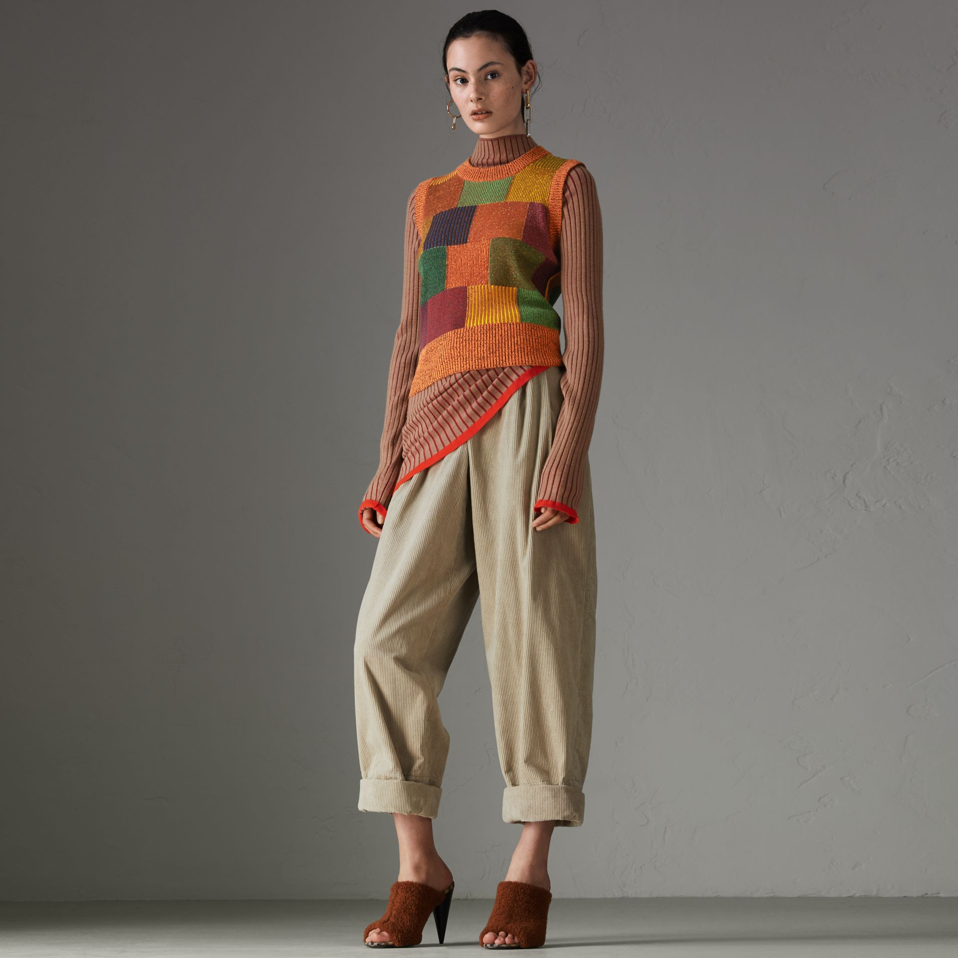 Patchwork Cotton Blend Tank Top in Amber - Women | Burberry Australia - gallery image 0