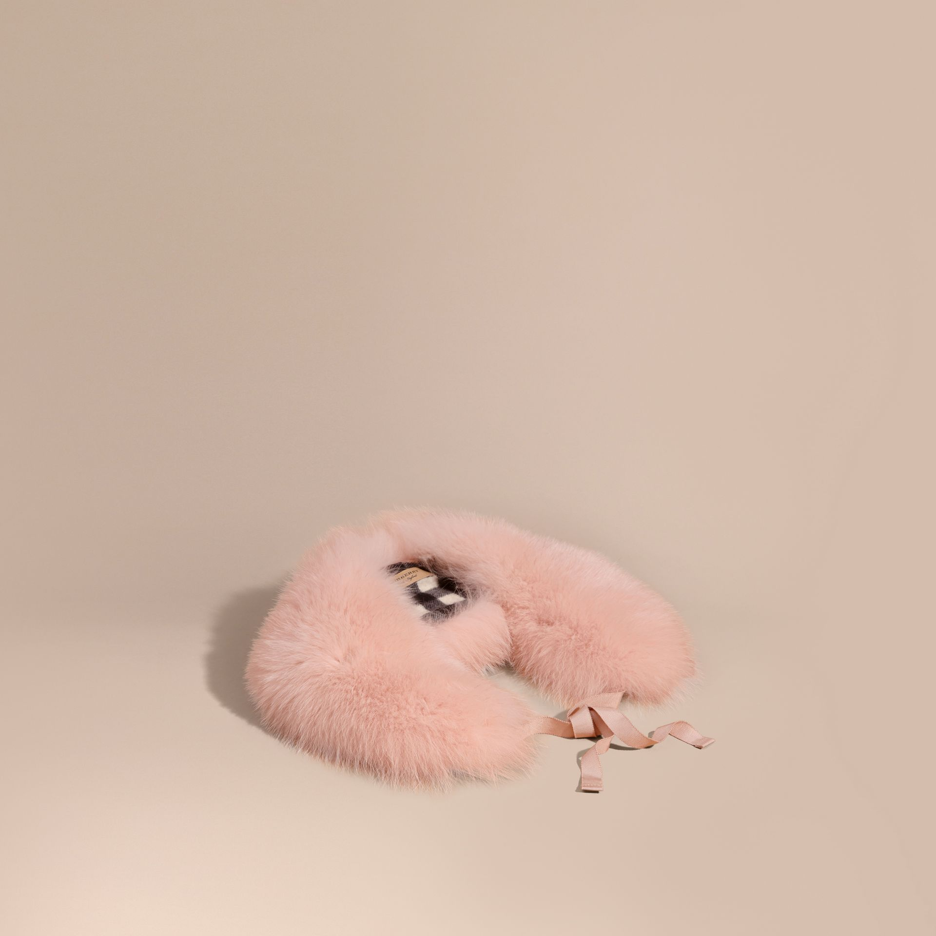 Ash rose Fox Fur Collar with Check Cashmere Lining Rose - gallery image 1