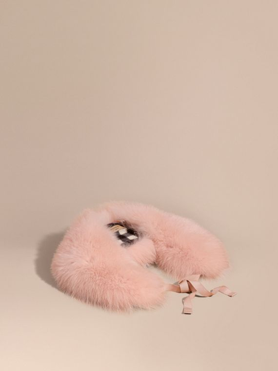Fox Fur Collar with Check Cashmere Lining Rose
