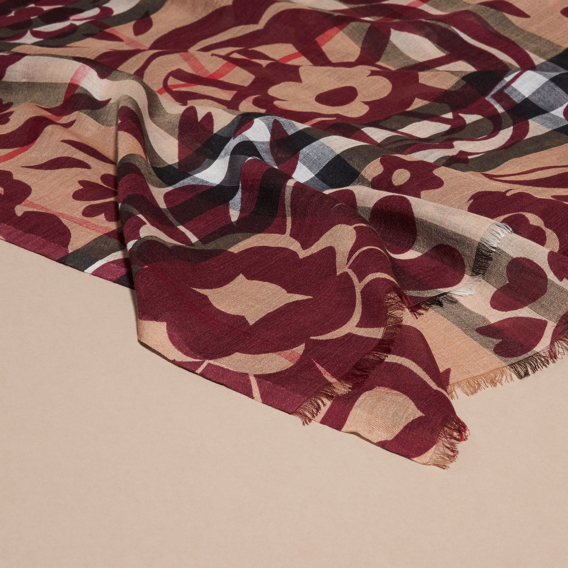 Crimson Floral Print Check Wool Silk Scarf - gallery image 2