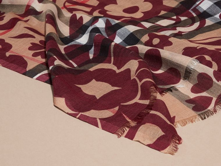 Crimson Floral Print Check Wool Silk Scarf - cell image 1