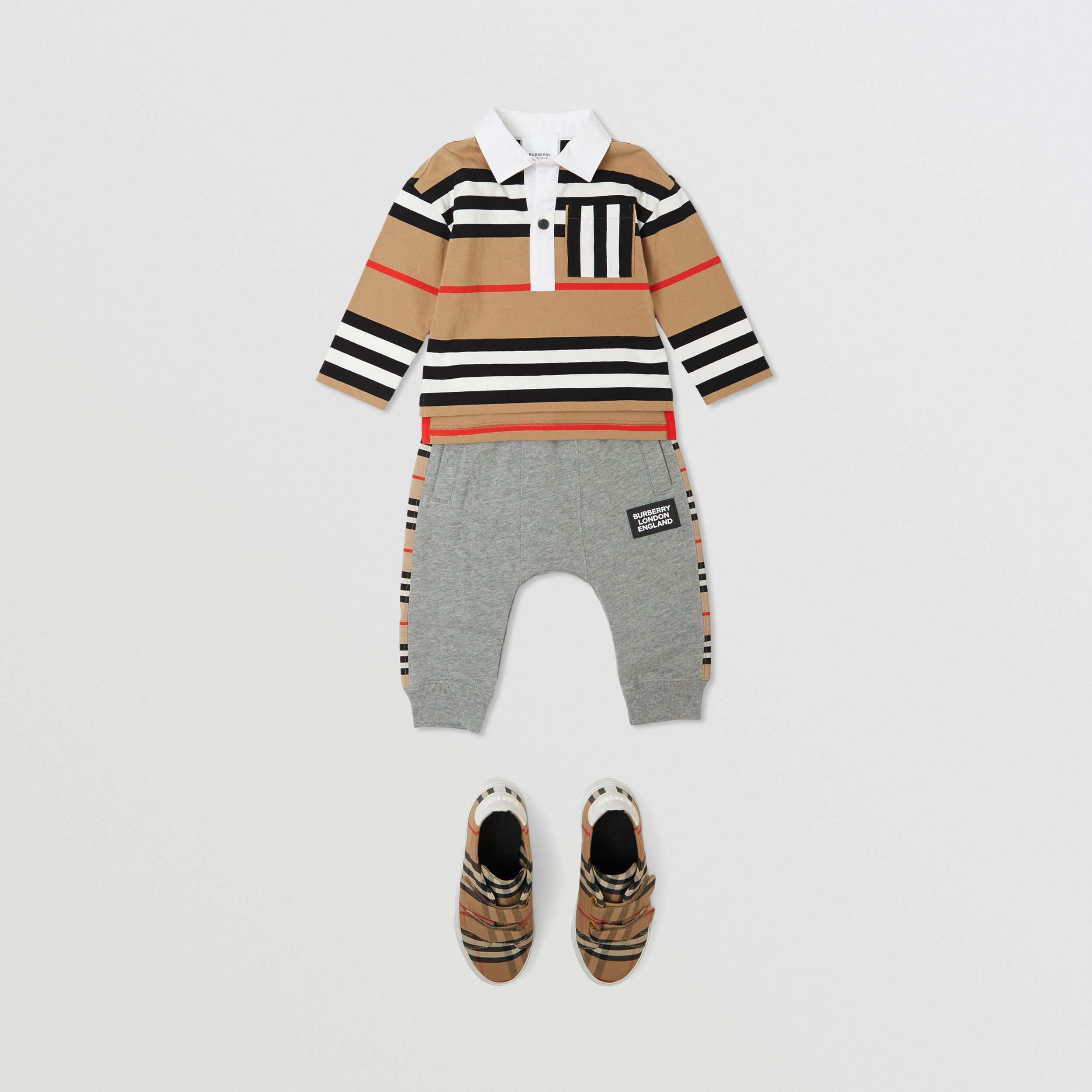 Icon Stripe Panel Cotton Jogging Pants in Grey Melange - Children | Burberry - 4