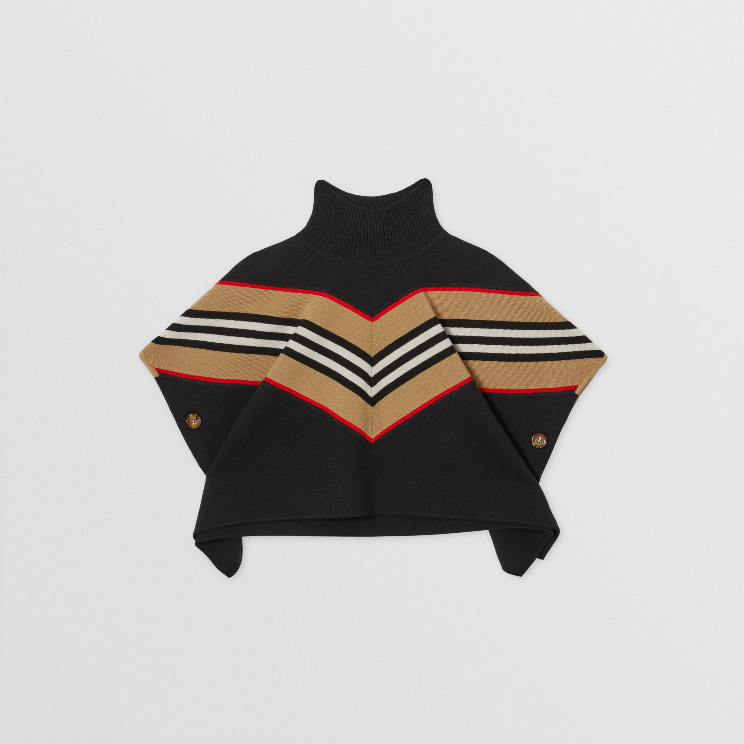 Icon Stripe Panel Wool Cashmere Blend Poncho in Black - Children | Burberry - 1