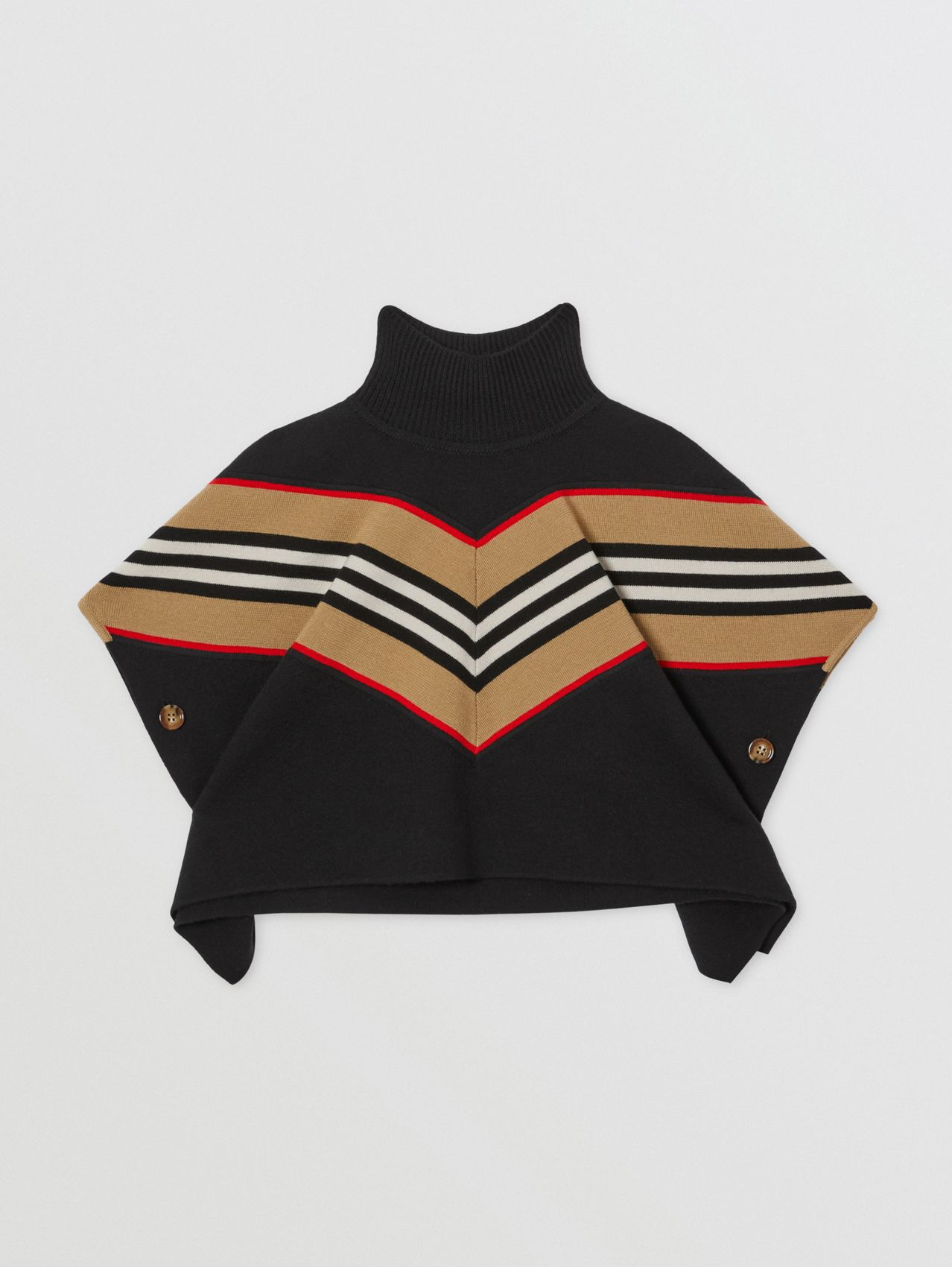 Icon Stripe Panel Wool Cashmere Blend Poncho in Black