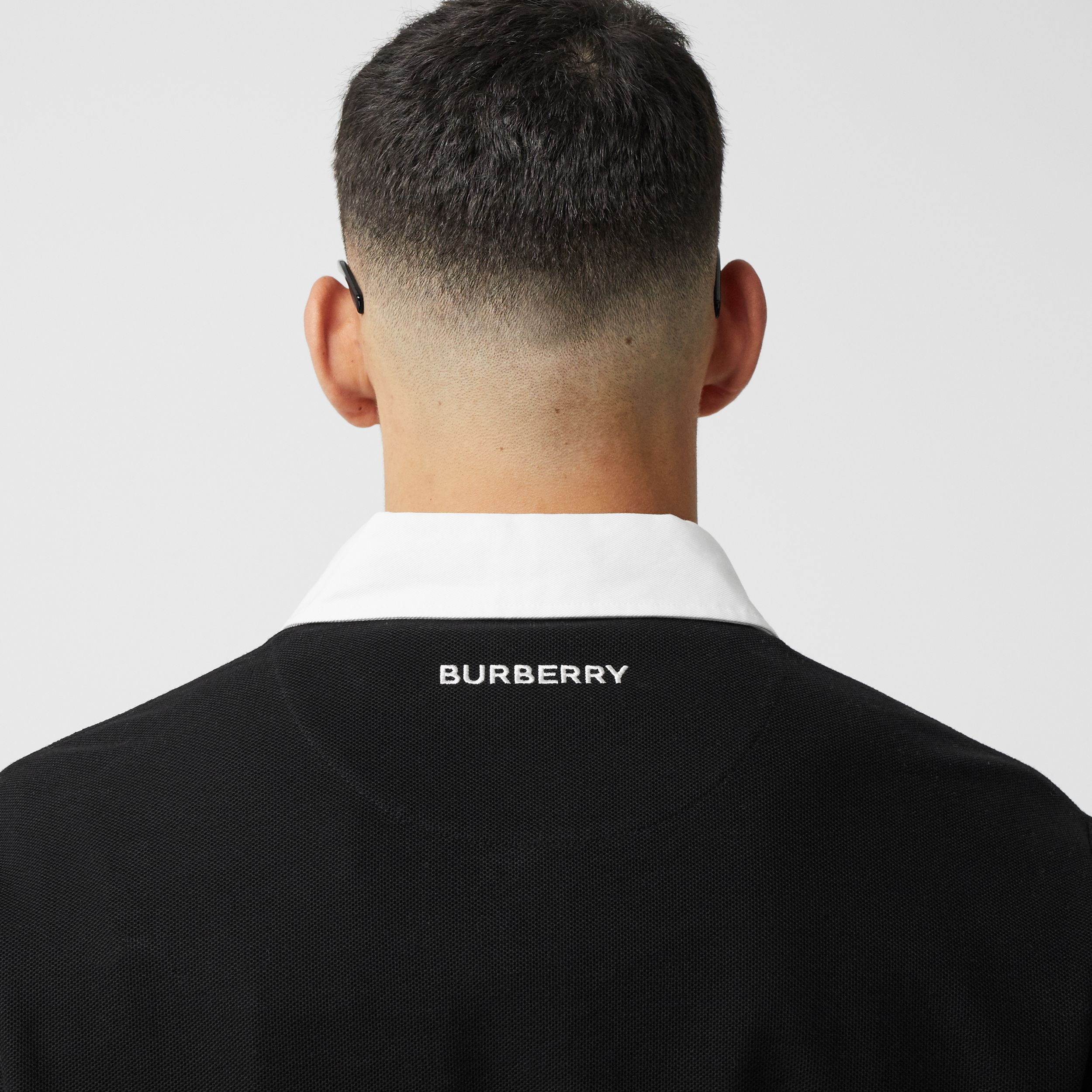 Long-sleeve Star Motif Cotton Piqué Polo Shirt in Black - Men | Burberry - 2