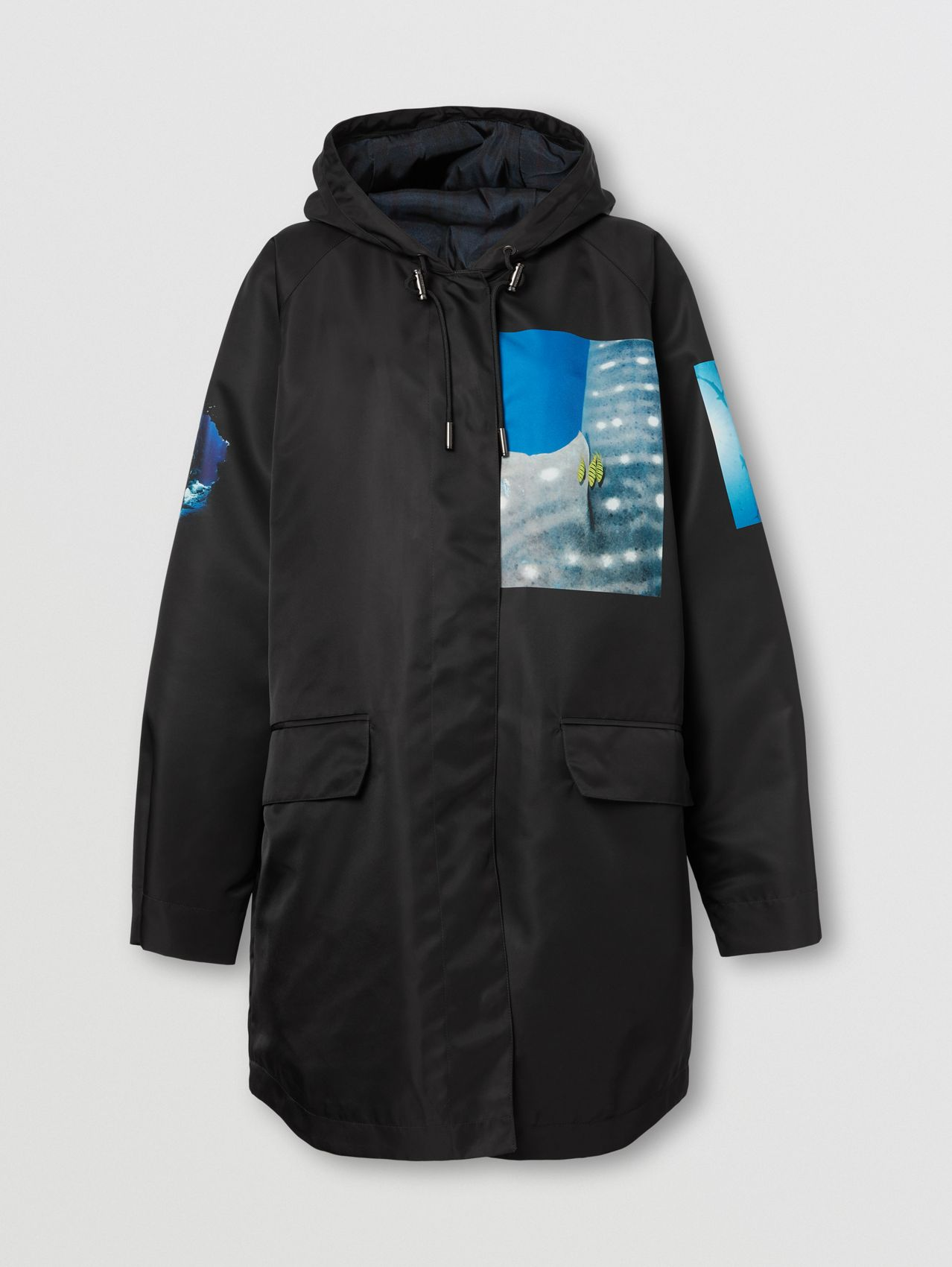 Montage Print Nylon Parka in Black