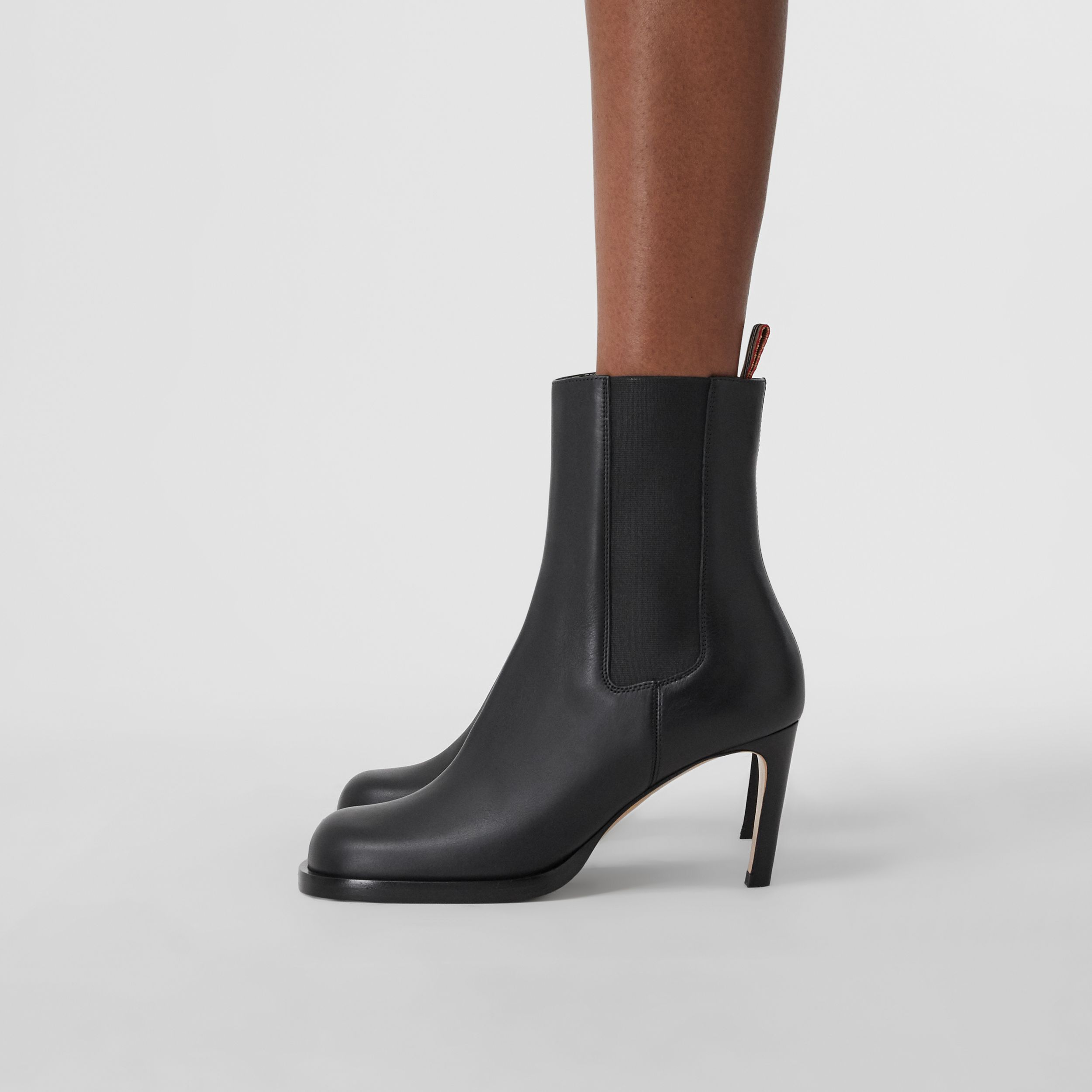 Icon Stripe Detail Leather Ankle Boots in Black - Women | Burberry - 3