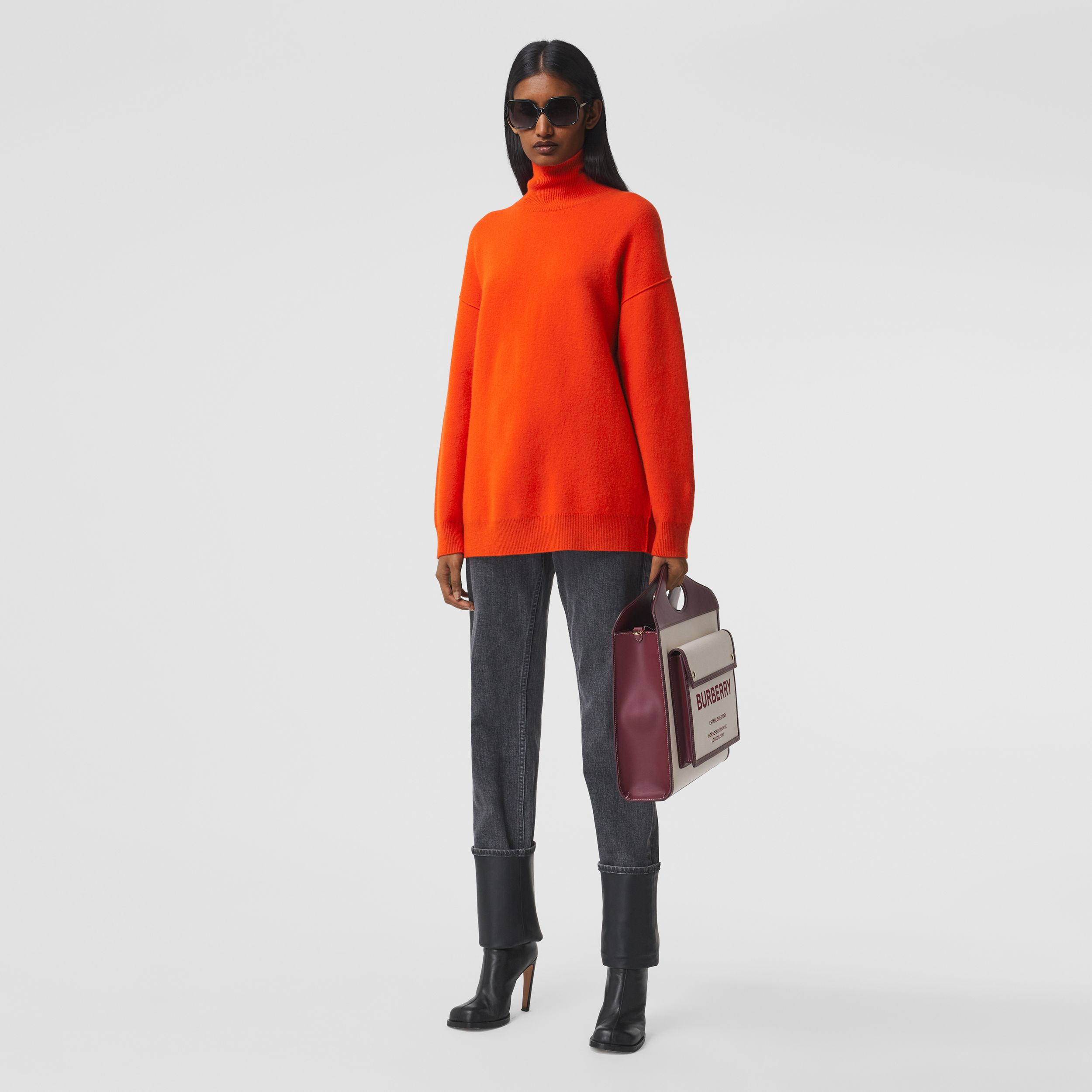 Monogram Motif Cashmere Blend Funnel Neck Sweater in Bright Orange - Women | Burberry - 1