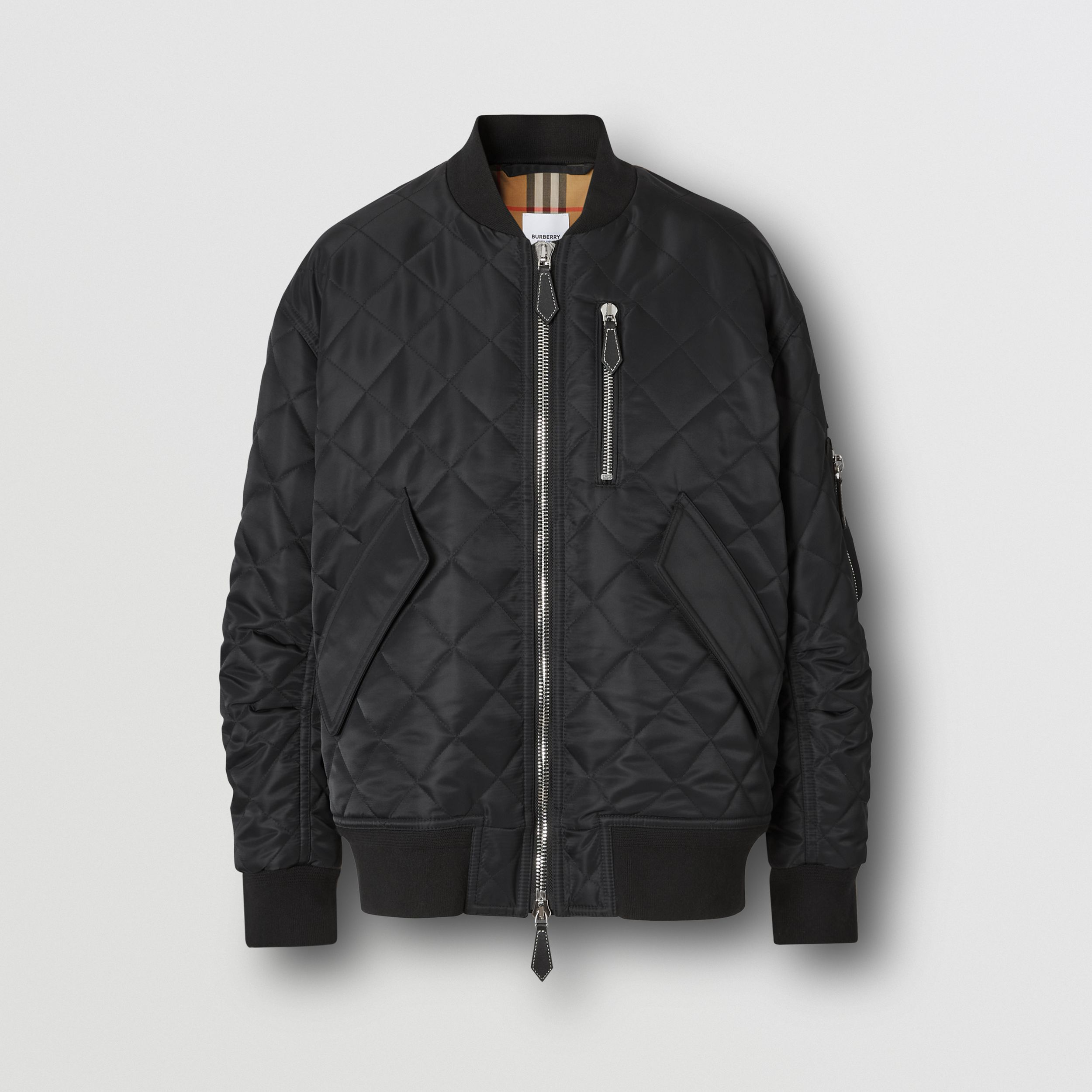 Diamond Quilted Nylon and Cotton Bomber Jacket in Black | Burberry - 4