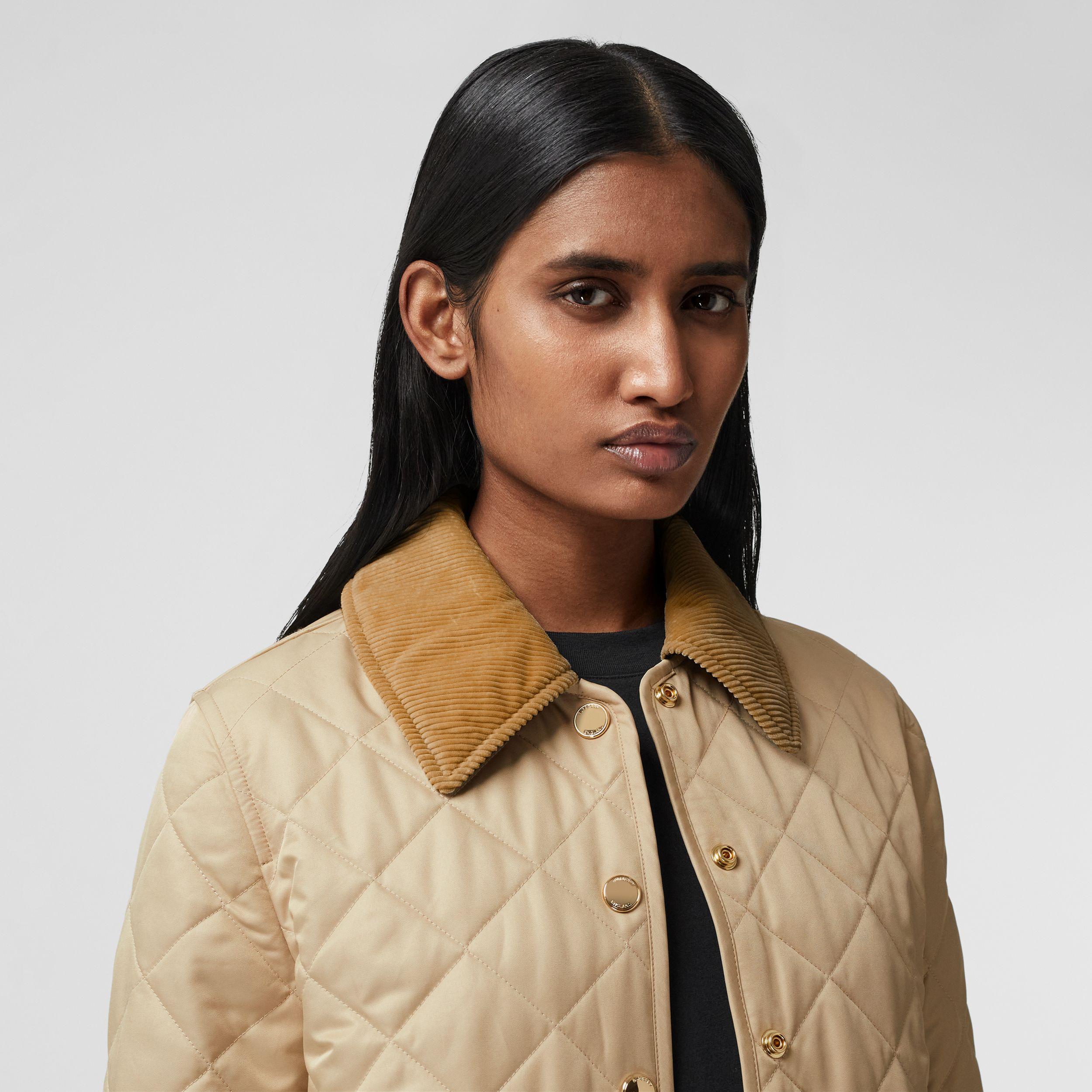 Corduroy Collar Diamond Quilted Jacket in Soft Fawn - Women | Burberry - 2