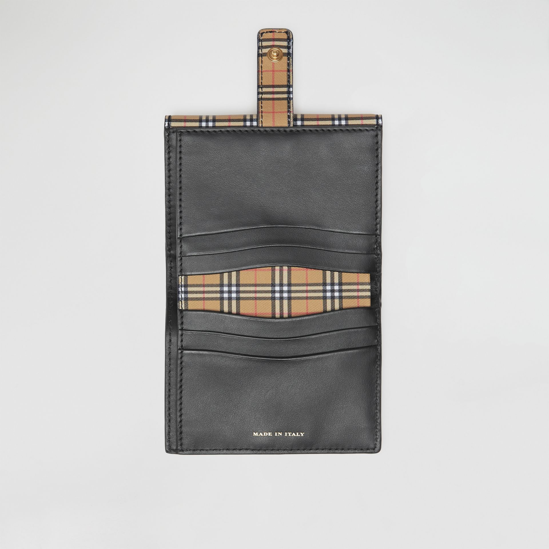 Small Scale Check and Leather Folding Wallet in Antique Yellow - Women | Burberry United Kingdom - gallery image 3