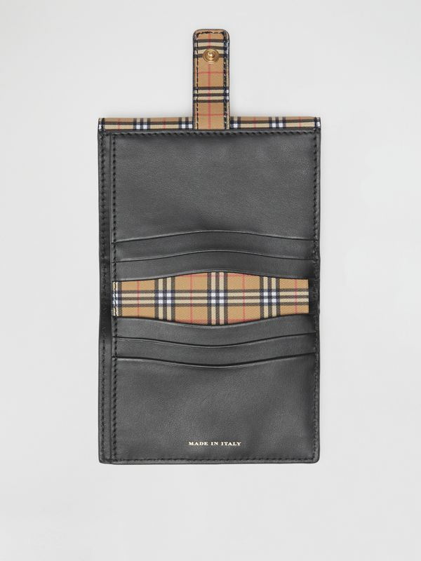 Small Scale Check and Leather Folding Wallet in Antique Yellow - Women | Burberry - cell image 3