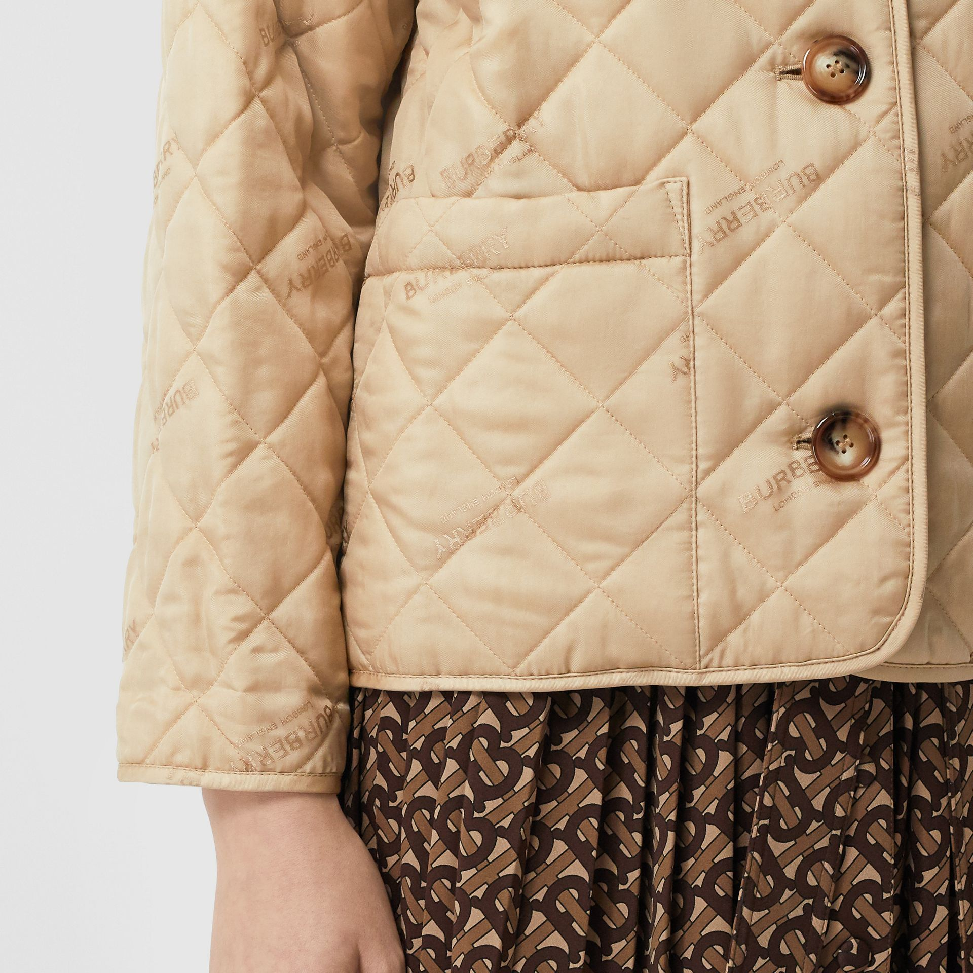 Logo Jacquard Diamond Quilted Jacket in Ecru - Women | Burberry United Kingdom - gallery image 4