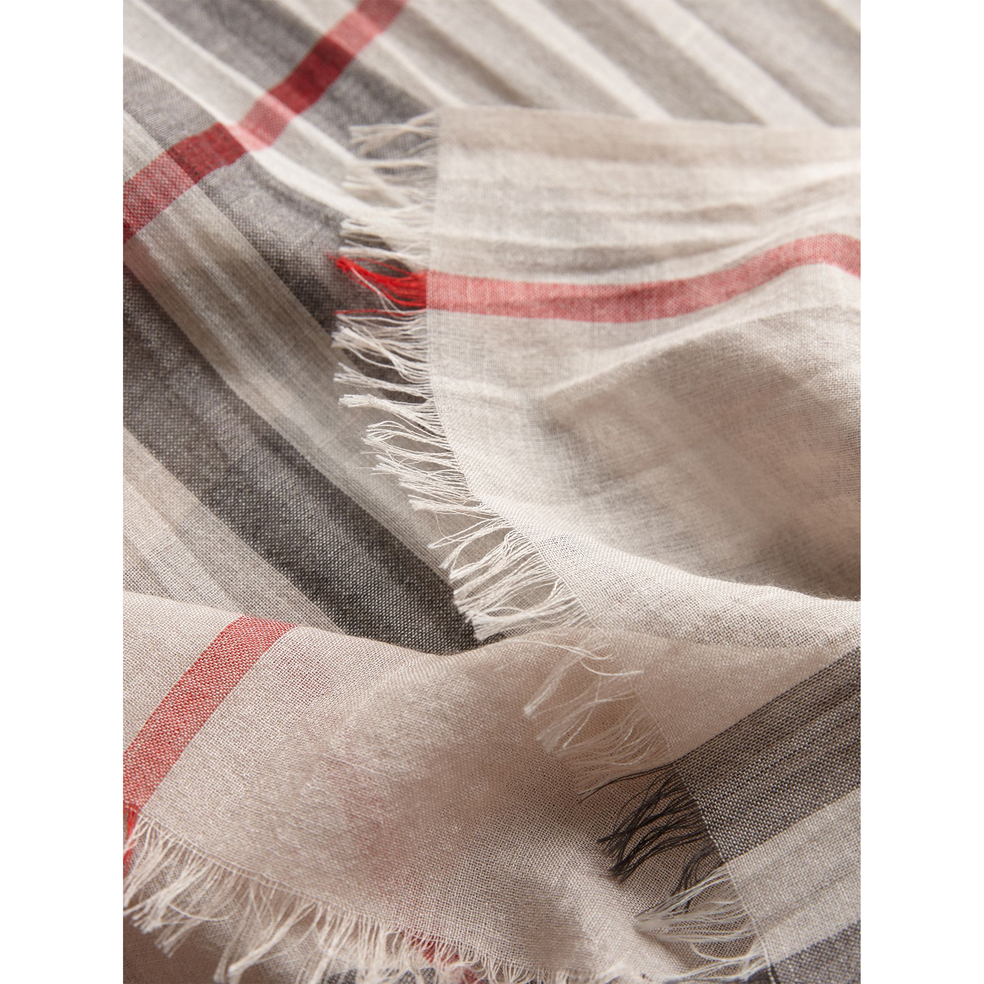 Lightweight Check Wool and Silk Scarf in Stone | Burberry Canada - gallery image 1