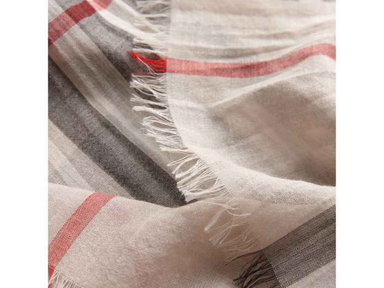 Lightweight Check Wool and Silk Scarf in Stone | Burberry Canada - cell image 1