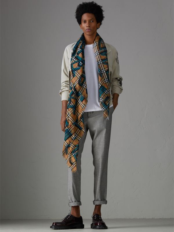 Graffiti Print Check Wool Silk Large Square Scarf in Brilliant Blue | Burberry - cell image 2