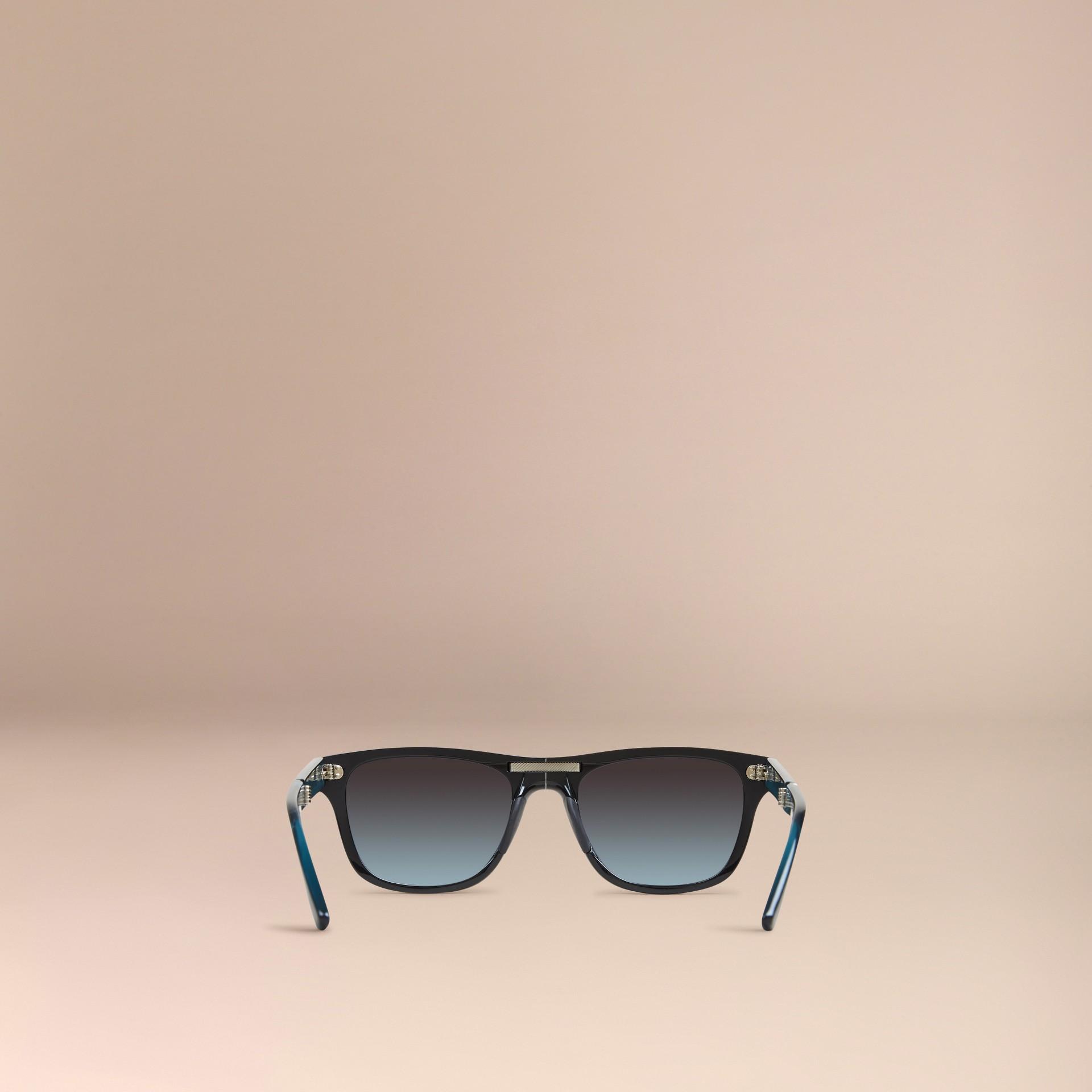 Nero Occhiali da sole con montatura rettangolare pieghevole Nero - immagine della galleria 3