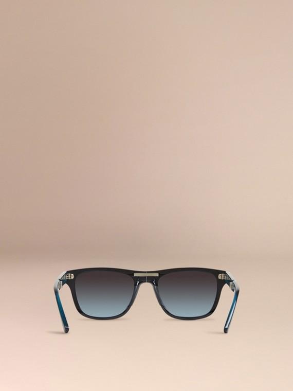 Black Foldable Rectangular Frame Sunglasses - cell image 2