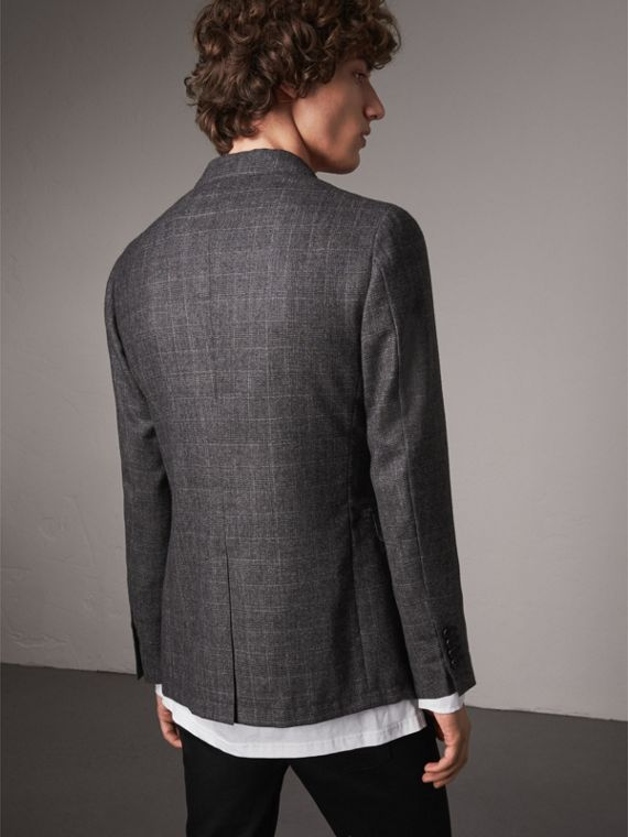 Soho Fit Check Wool Flannel Tailored Jacket in Dark Grey Melange - Men | Burberry - cell image 2