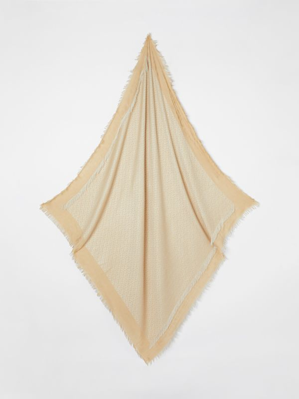 Metallic Monogram Silk Blend Large Square Scarf in Honey | Burberry United Kingdom - cell image 3