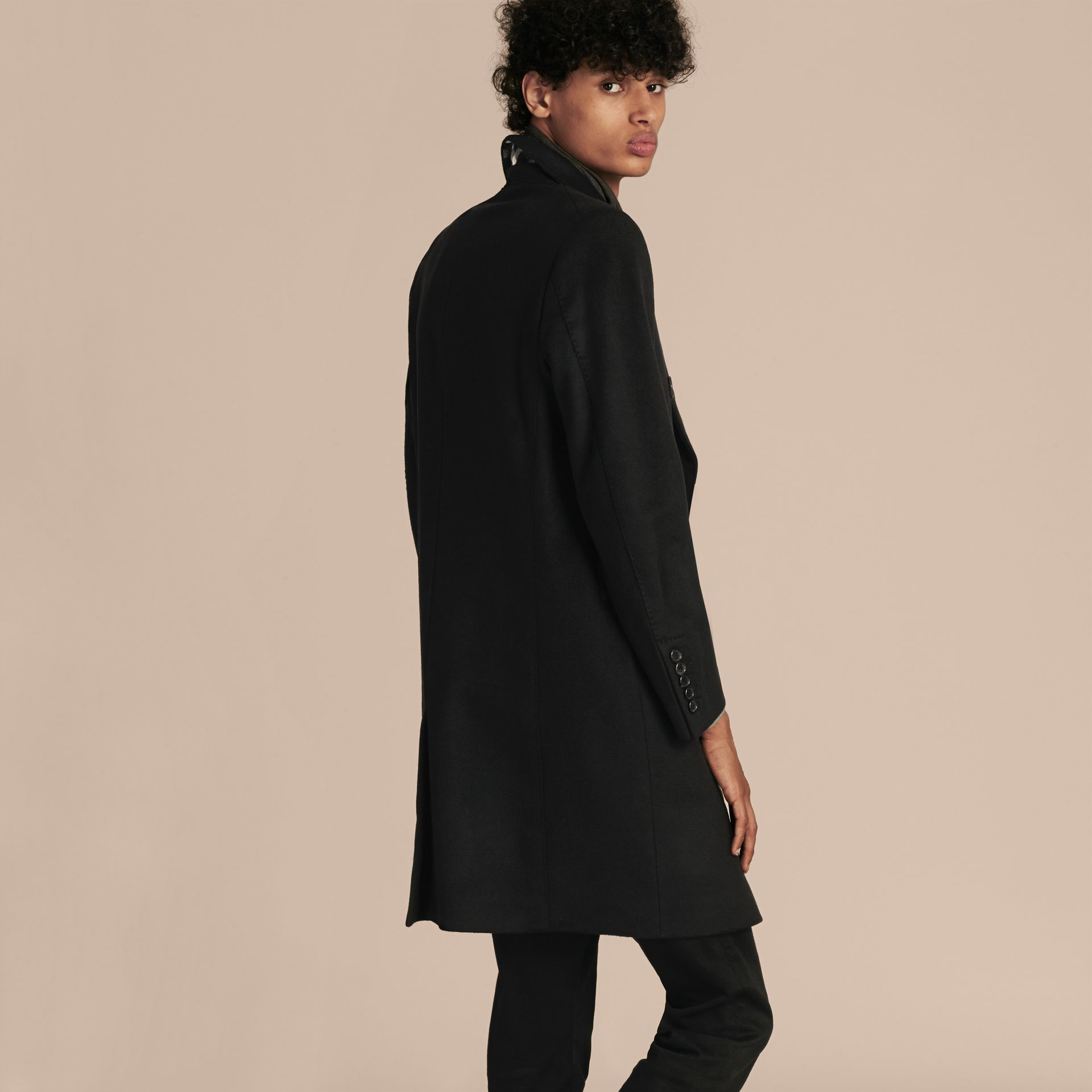 Black Double-breasted Wool Cashmere Tailored Coat - gallery image 3