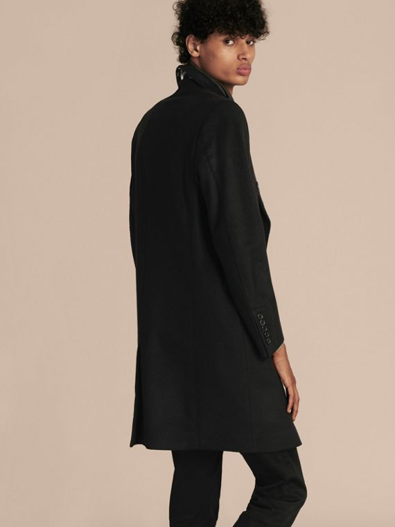 Black Double-breasted Wool Cashmere Tailored Coat - cell image 2